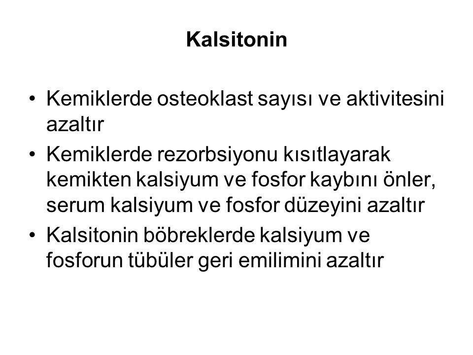 Kalsitonin Kemiklerde osteoklast sayısı ve aktivitesini azaltır.