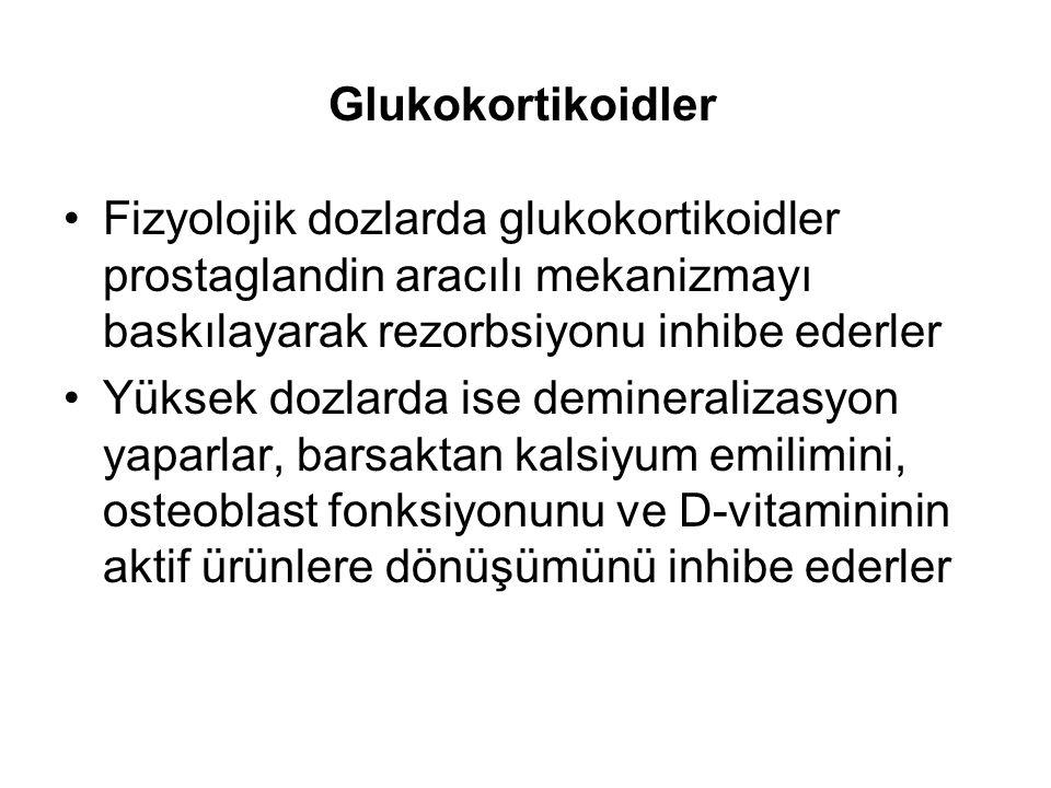 Glukokortikoidler Fizyolojik dozlarda glukokortikoidler prostaglandin aracılı mekanizmayı baskılayarak rezorbsiyonu inhibe ederler.