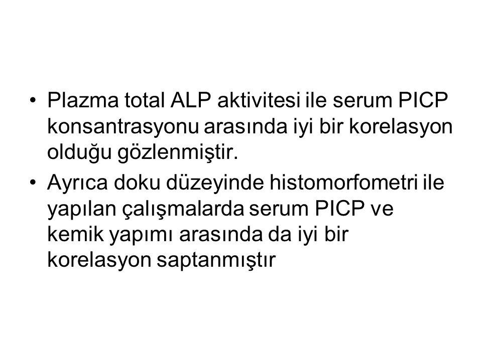 Plazma total ALP aktivitesi ile serum PICP konsantrasyonu arasında iyi bir korelasyon olduğu gözlenmiştir.
