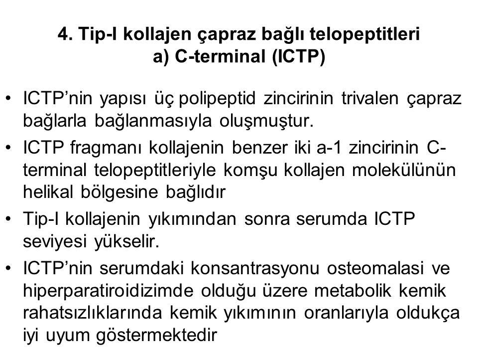 4. Tip-I kollajen çapraz bağlı telopeptitleri a) C-terminal (ICTP)