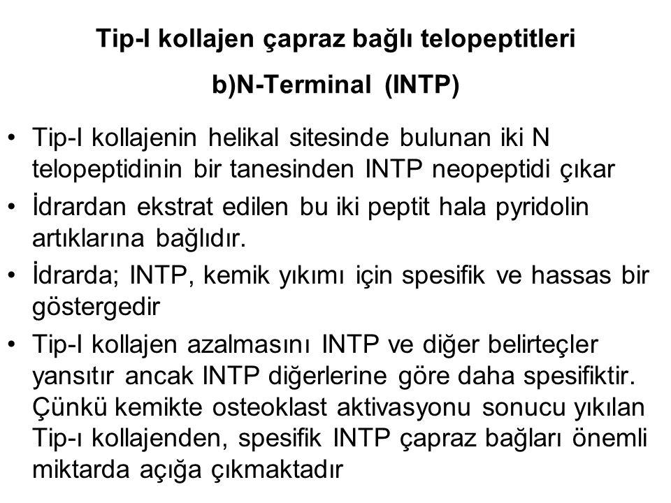Tip-I kollajen çapraz bağlı telopeptitleri b)N-Terminal (INTP)