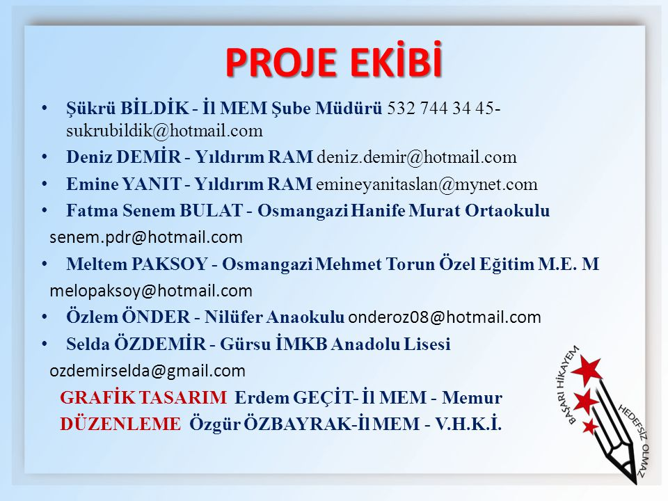 PROJE EKİBİ Şükrü BİLDİK - İl MEM Şube Müdürü 532 744 34 45-sukrubildik@hotmail.com. Deniz DEMİR - Yıldırım RAM deniz.demir@hotmail.com.