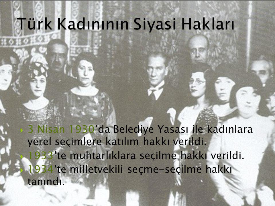 Türk Kadınının Siyasi Hakları