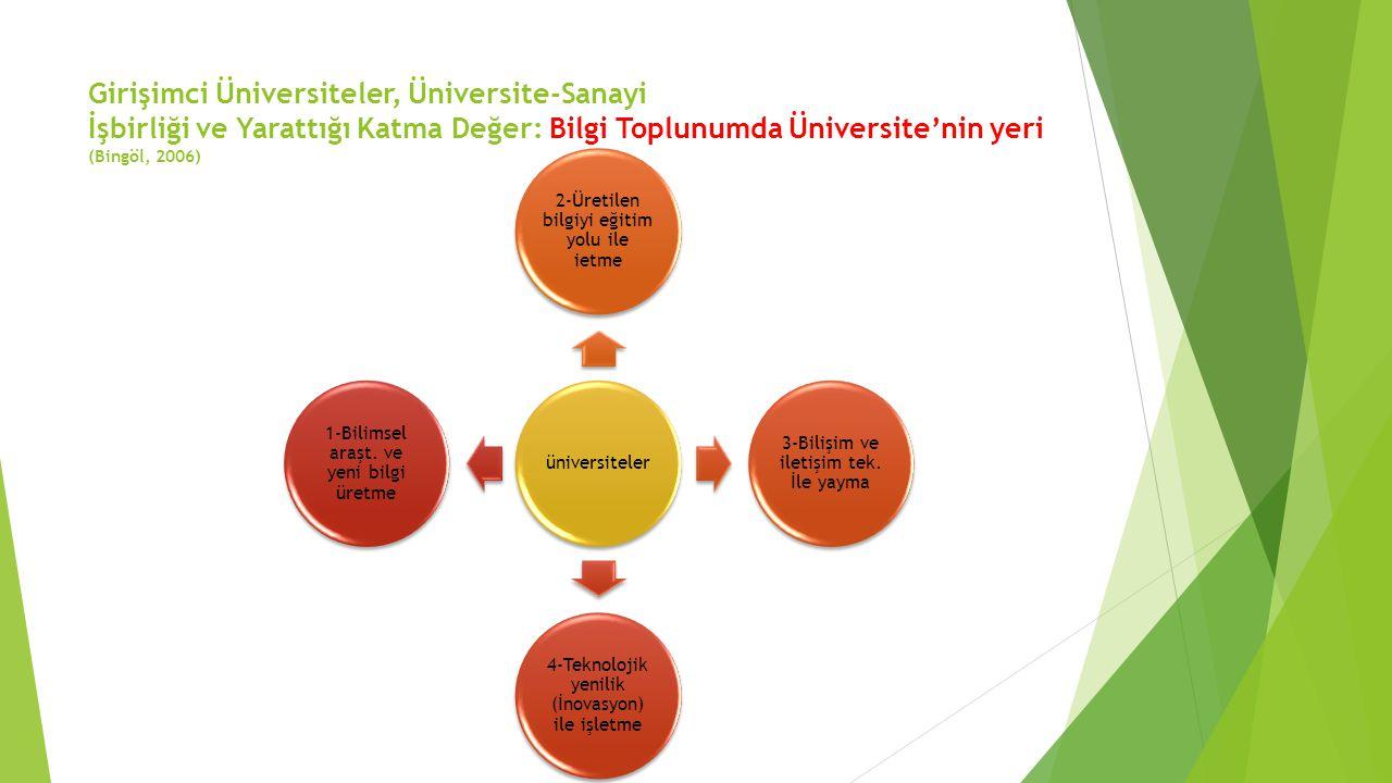 Girişimci Üniversiteler, Üniversite-Sanayi İşbirliği ve Yarattığı Katma Değer: Bilgi Toplunumda Üniversite'nin yeri (Bingöl, 2006)