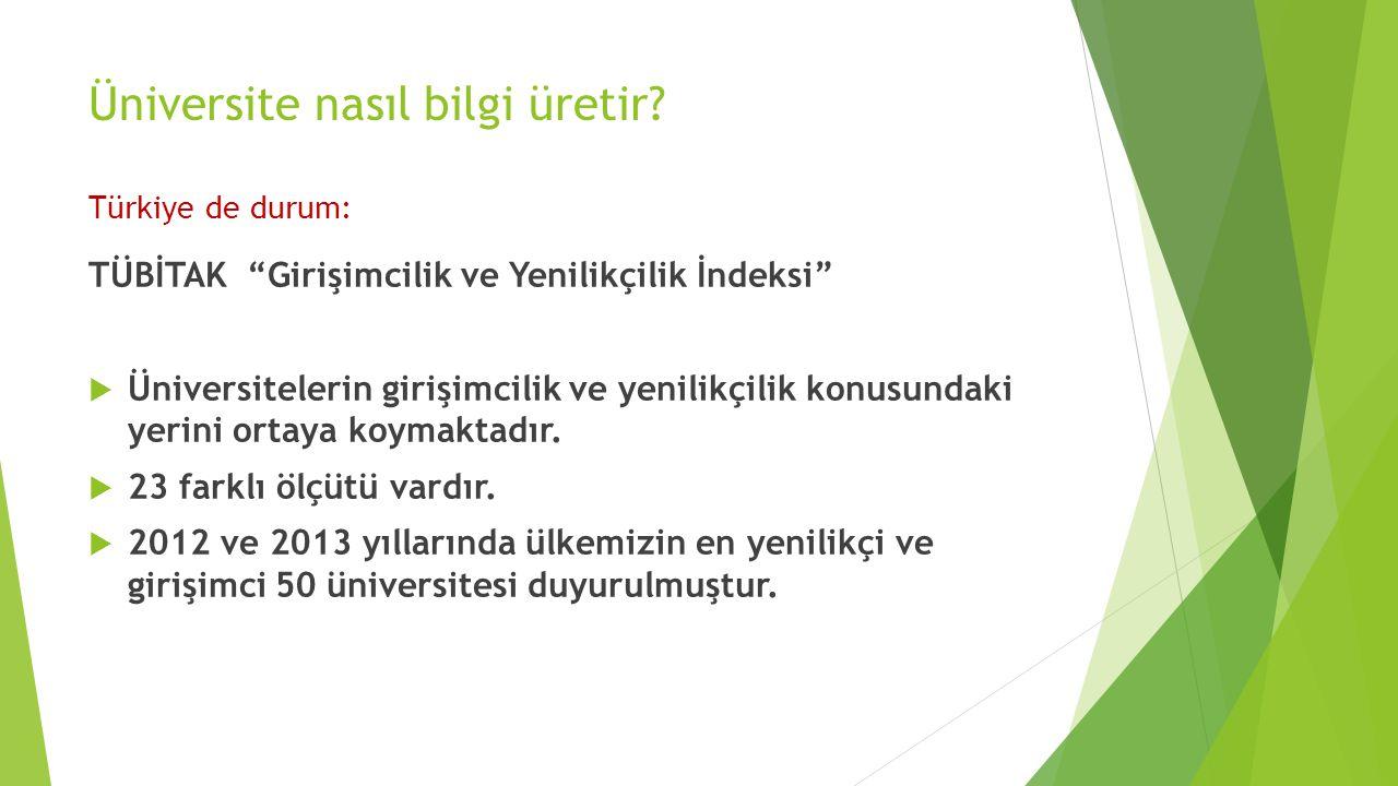 Üniversite nasıl bilgi üretir Türkiye de durum:
