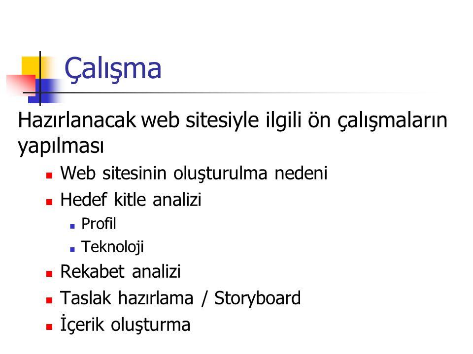 Çalışma Hazırlanacak web sitesiyle ilgili ön çalışmaların yapılması
