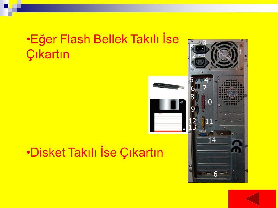 Eğer Flash Bellek Takılı İse Çıkartın