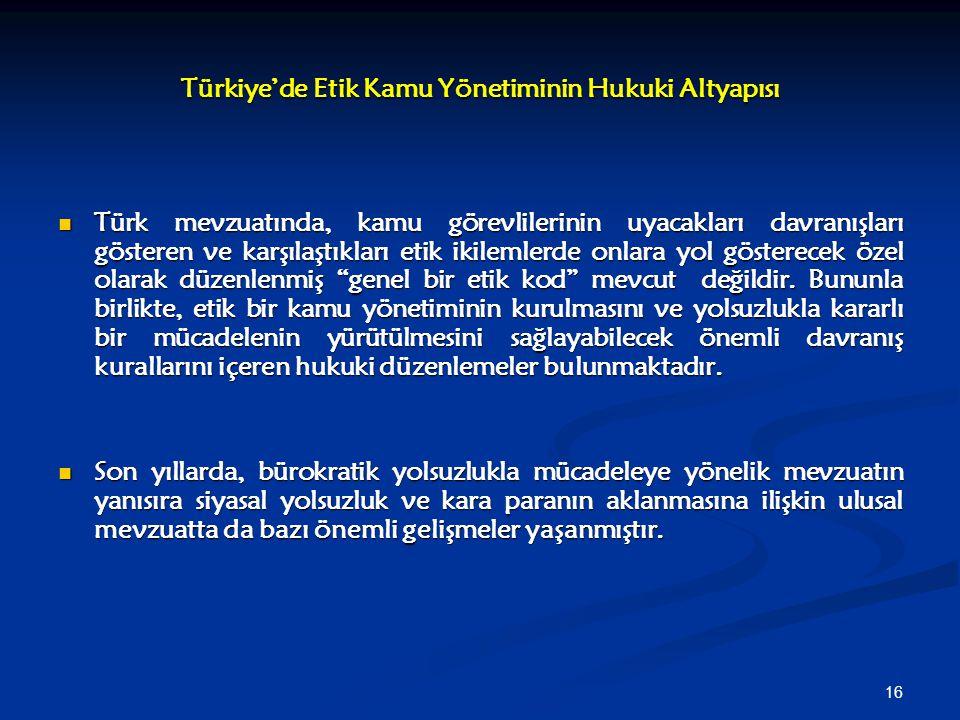 Türkiye'de Etik Kamu Yönetiminin Hukuki Altyapısı