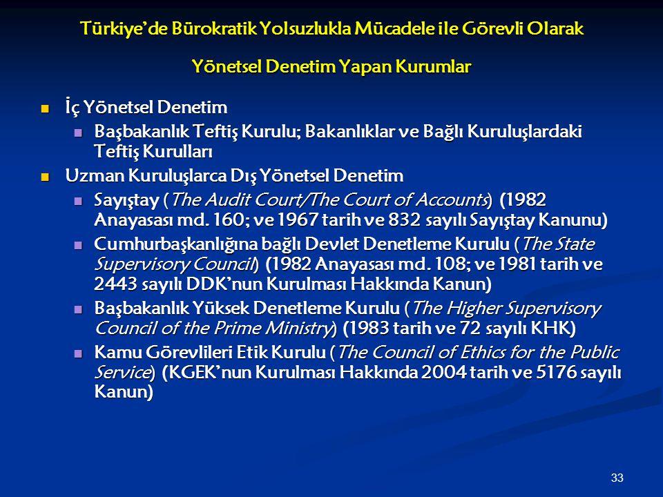 Türkiye'de Bürokratik Yolsuzlukla Mücadele ile Görevli Olarak Yönetsel Denetim Yapan Kurumlar