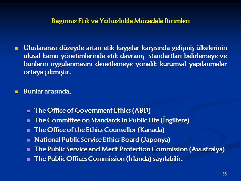 Bağımsız Etik ve Yolsuzlukla Mücadele Birimleri