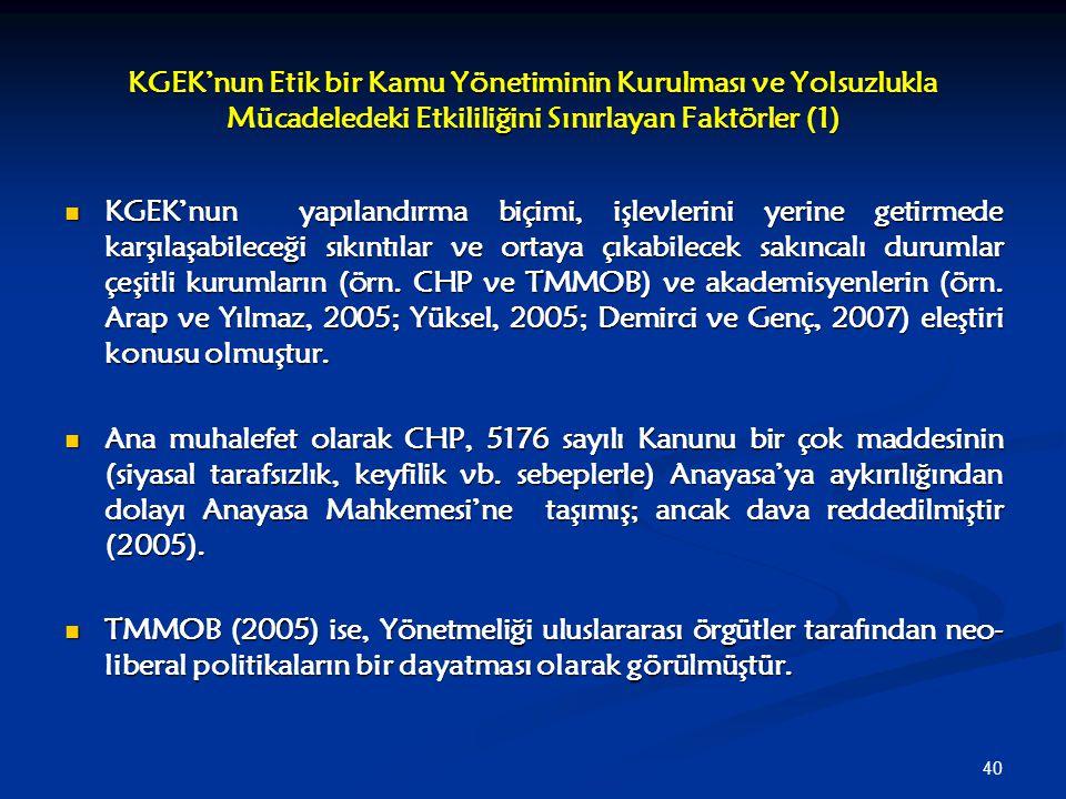 KGEK'nun Etik bir Kamu Yönetiminin Kurulması ve Yolsuzlukla Mücadeledeki Etkililiğini Sınırlayan Faktörler (1)