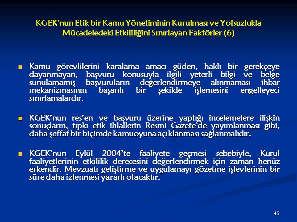 KGEK'nun Etik bir Kamu Yönetiminin Kurulması ve Yolsuzlukla Mücadeledeki Etkililiğini Sınırlayan Faktörler (6)