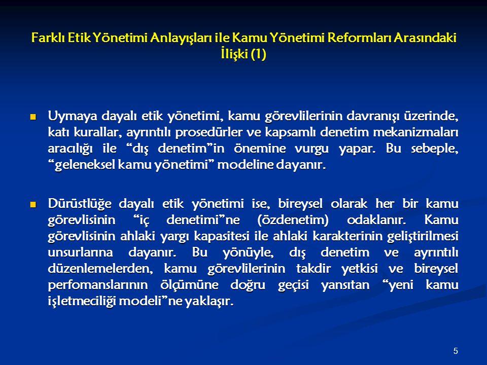 Farklı Etik Yönetimi Anlayışları ile Kamu Yönetimi Reformları Arasındaki İlişki (1)