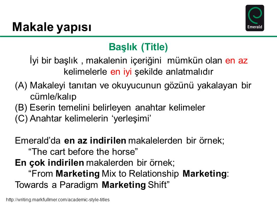 Makale yapısı Identify the main issue of the paper