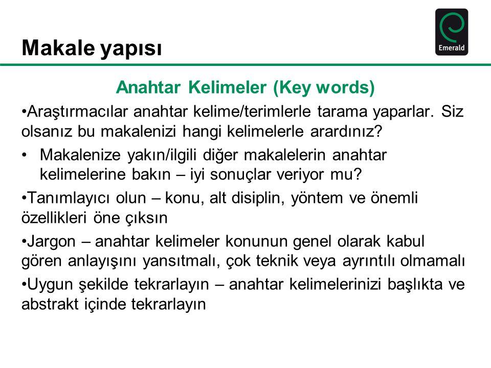 Anahtar Kelimeler (Key words)