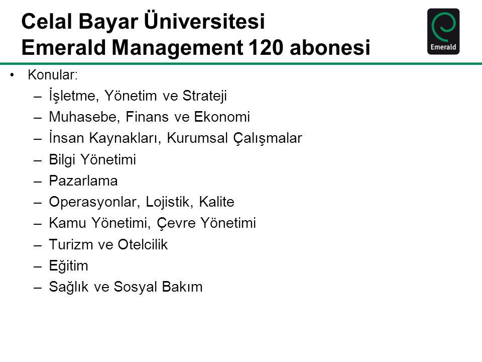 Celal Bayar Üniversitesi Emerald Management 120 abonesi