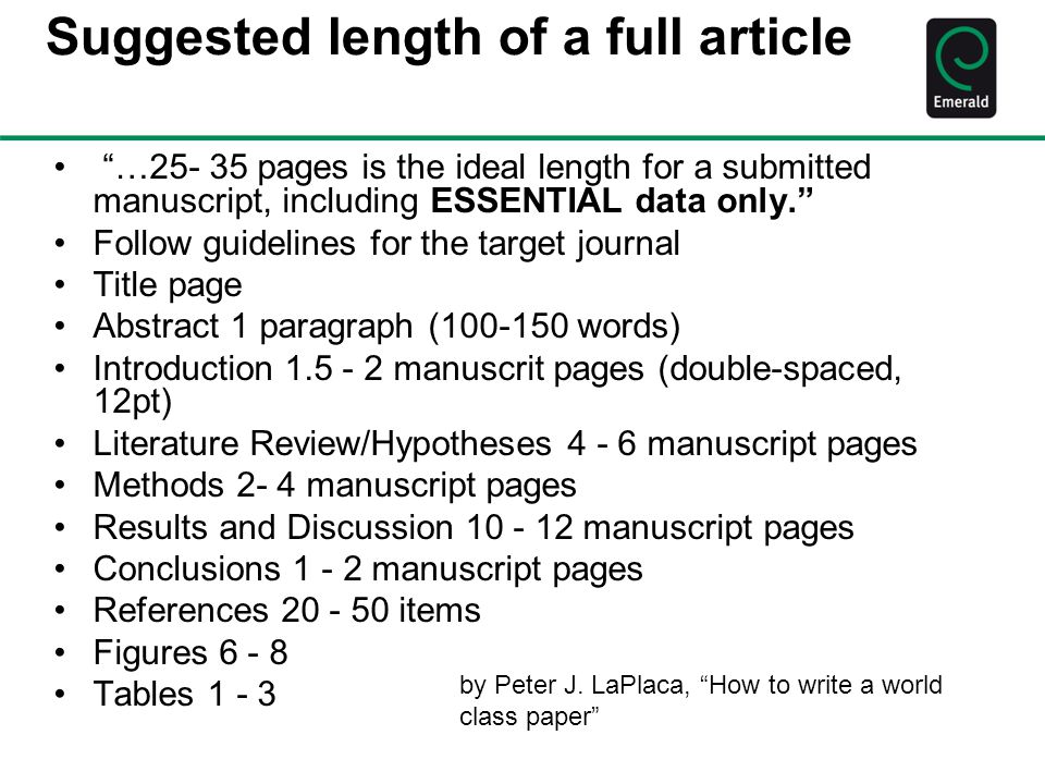 Suggested length of a full article
