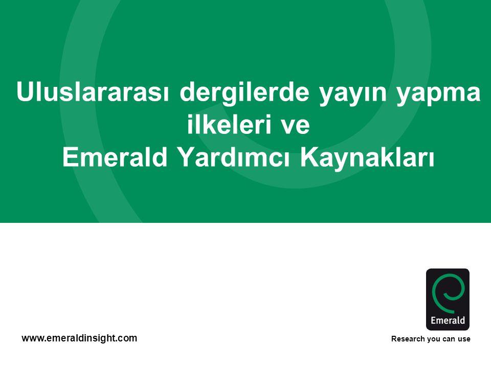 Uluslararası dergilerde yayın yapma ilkeleri ve Emerald Yardımcı Kaynakları