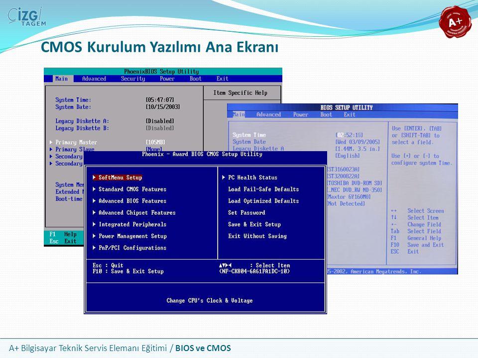 CMOS Kurulum Yazılımı Ana Ekranı