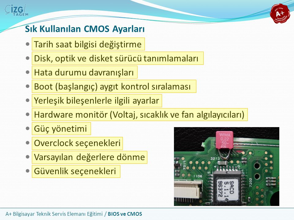 Sık Kullanılan CMOS Ayarları