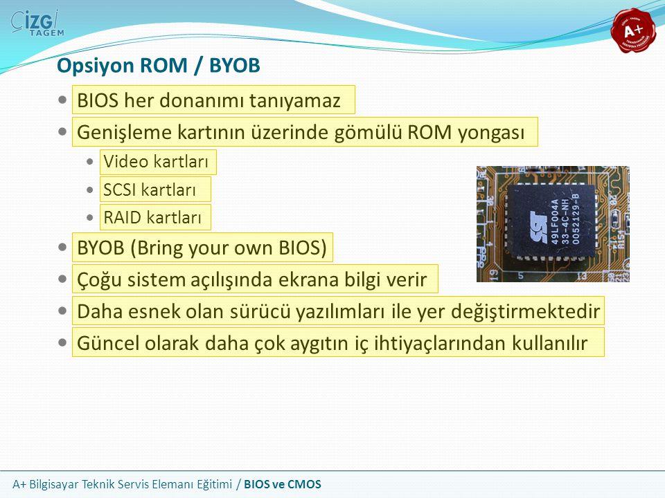 Opsiyon ROM / BYOB BIOS her donanımı tanıyamaz