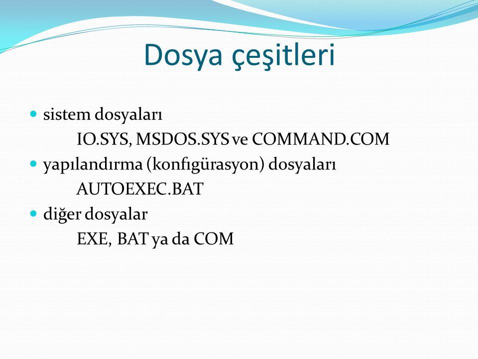 Dosya çeşitleri sistem dosyaları IO.SYS, MSDOS.SYS ve COMMAND.COM