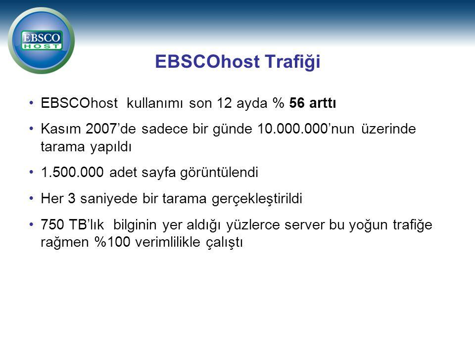 EBSCOhost Trafiği EBSCOhost kullanımı son 12 ayda % 56 arttı
