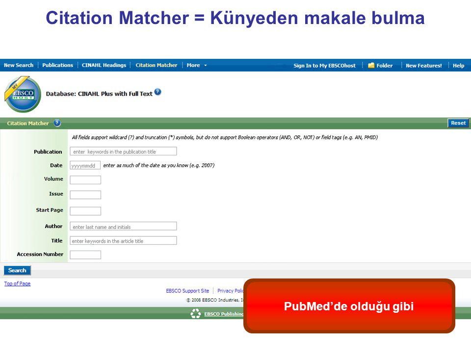 Citation Matcher = Künyeden makale bulma