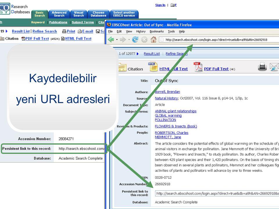 09.04.2017 Kaydedilebilir yeni URL adresleri