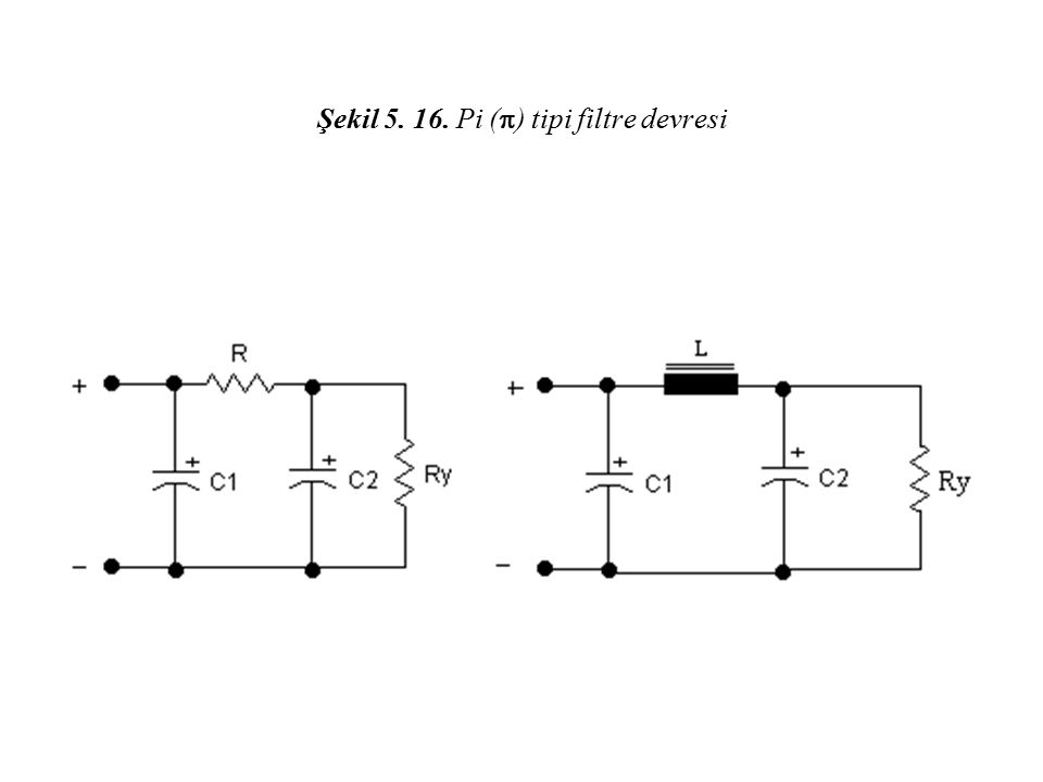 Şekil 5. 16. Pi () tipi filtre devresi
