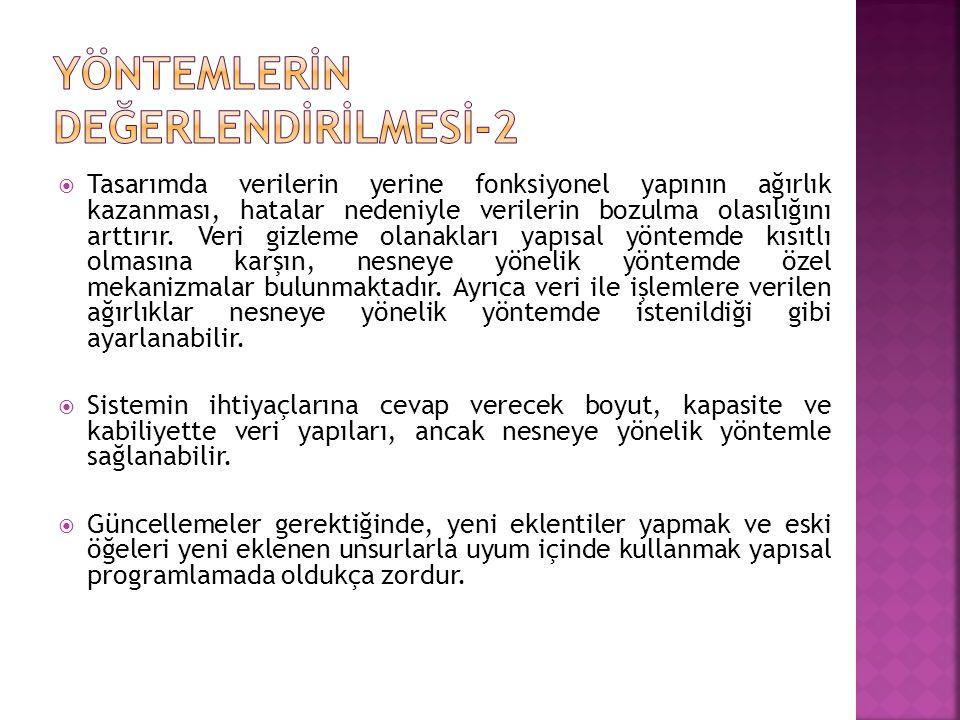 YÖNTEMLERİN DEĞERLENDİRİLMESİ-2