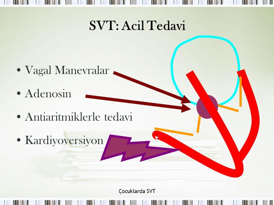 SVT: Acil Tedavi Vagal Manevralar Adenosin Antiaritmiklerle tedavi