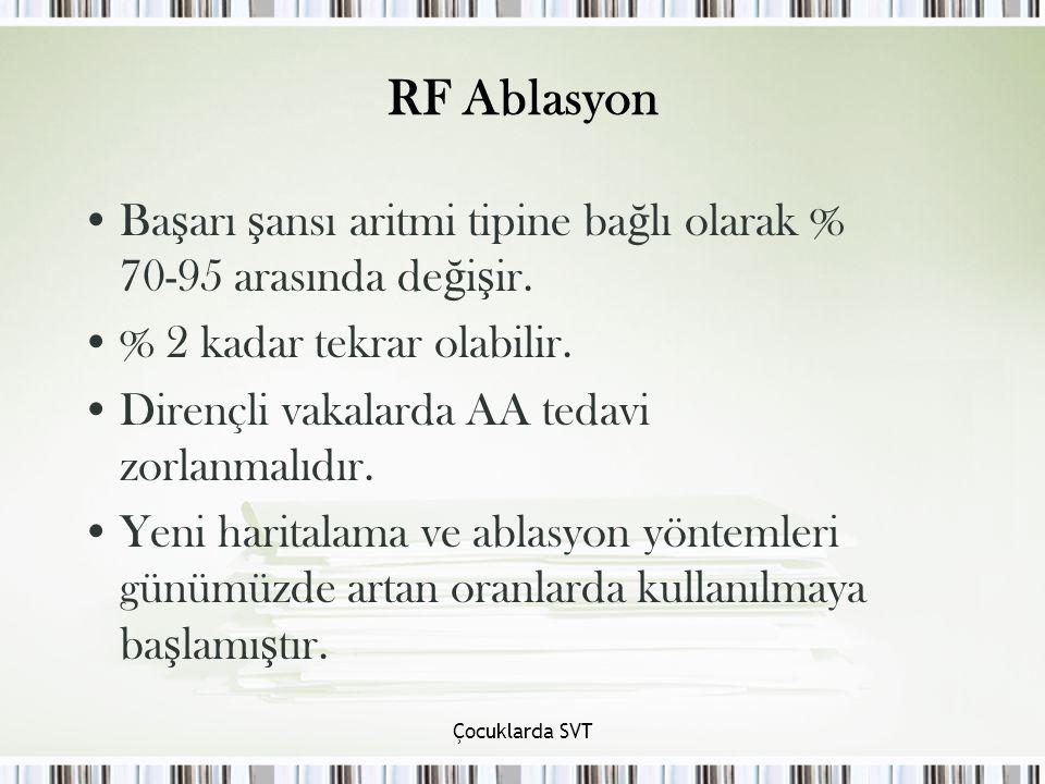 RF Ablasyon Başarı şansı aritmi tipine bağlı olarak % 70-95 arasında değişir. % 2 kadar tekrar olabilir.