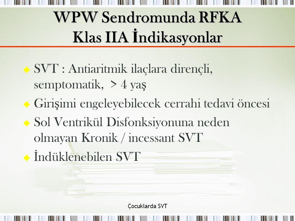 WPW Sendromunda RFKA Klas IIA İndikasyonlar