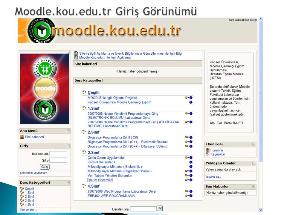 Moodle.kou.edu.tr Giriş Görünümü