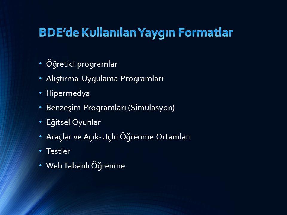 BDE'de Kullanılan Yaygın Formatlar