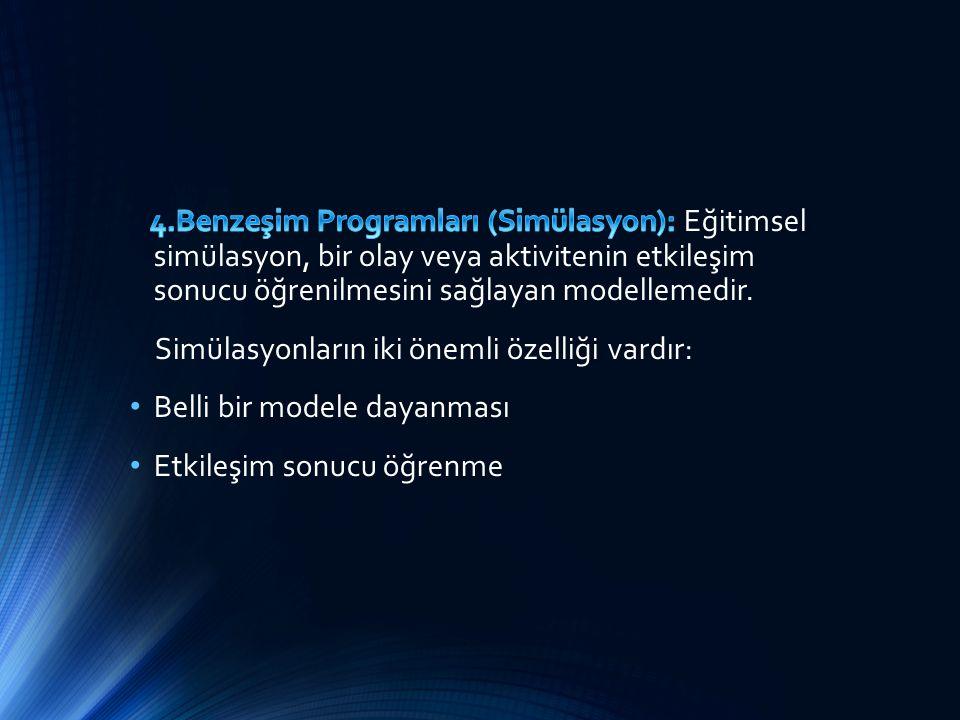 4.Benzeşim Programları (Simülasyon): Eğitimsel simülasyon, bir olay veya aktivitenin etkileşim sonucu öğrenilmesini sağlayan modellemedir.