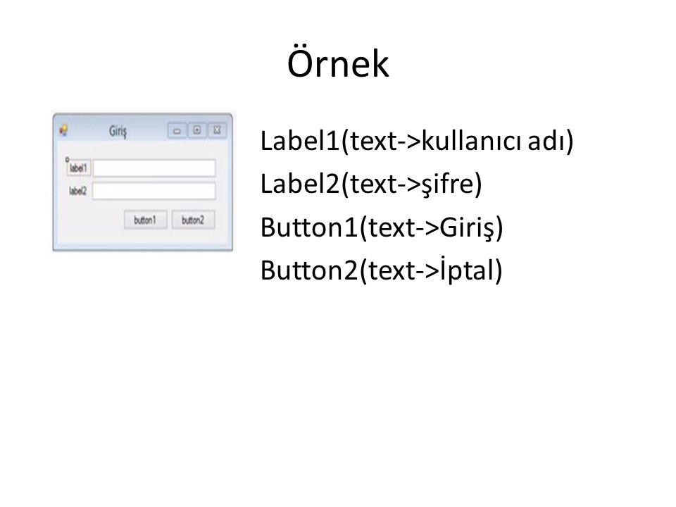 Örnek Label1(text->kullanıcı adı) Label2(text->şifre) Button1(text->Giriş) Button2(text->İptal)