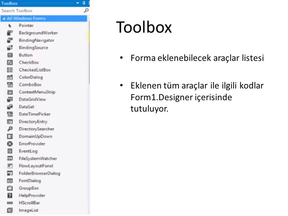 Toolbox Forma eklenebilecek araçlar listesi