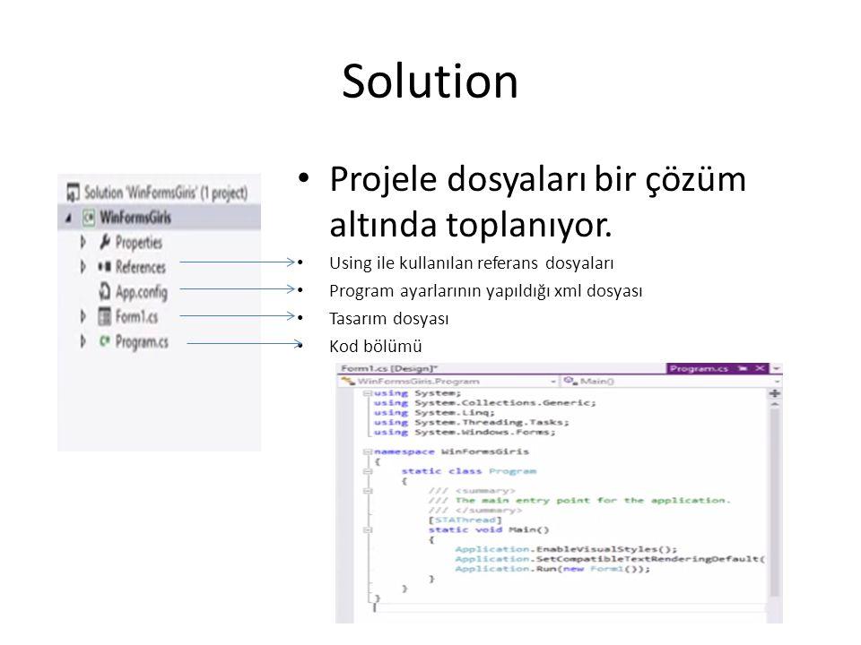 Solution Projele dosyaları bir çözüm altında toplanıyor.