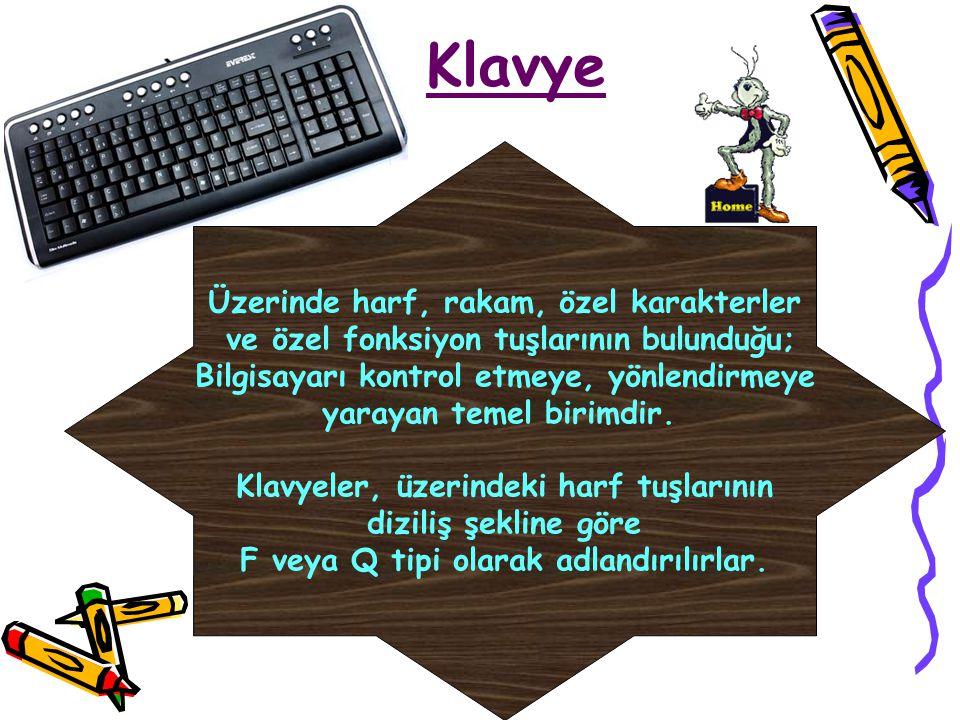Klavye Üzerinde harf, rakam, özel karakterler