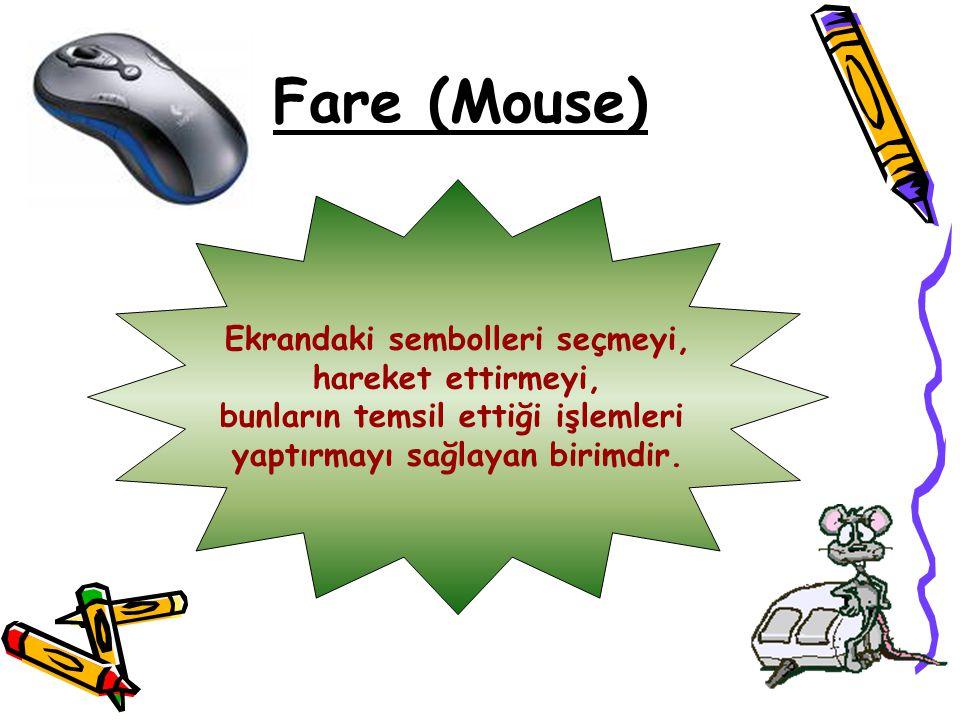 Fare (Mouse) Ekrandaki sembolleri seçmeyi, hareket ettirmeyi,