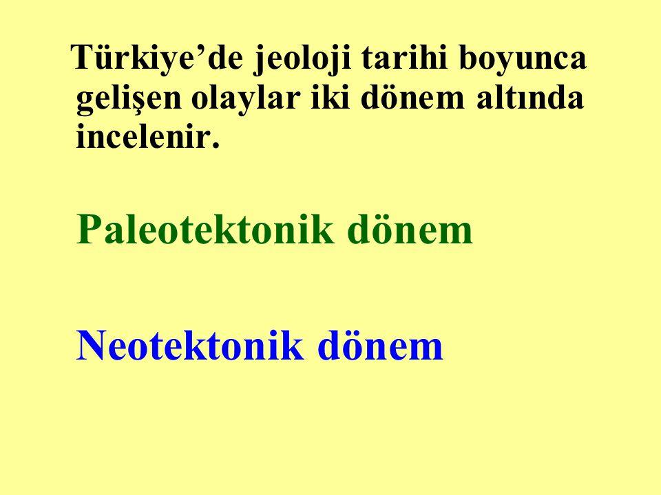 Türkiye'de jeoloji tarihi boyunca gelişen olaylar iki dönem altında incelenir.