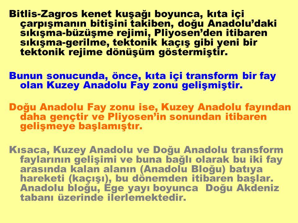 Bitlis-Zagros kenet kuşağı boyunca, kıta içi çarpışmanın bitişini takiben, doğu Anadolu'daki sıkışma-büzüşme rejimi, Pliyosen'den itibaren sıkışma-gerilme, tektonik kaçış gibi yeni bir tektonik rejime dönüşüm göstermiştir.