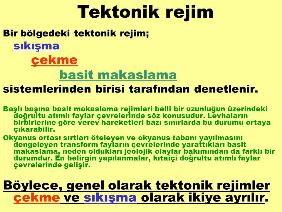 Tektonik rejim Bir bölgedeki tektonik rejim; sıkışma. çekme. basit makaslama. sistemlerinden birisi tarafından denetlenir.