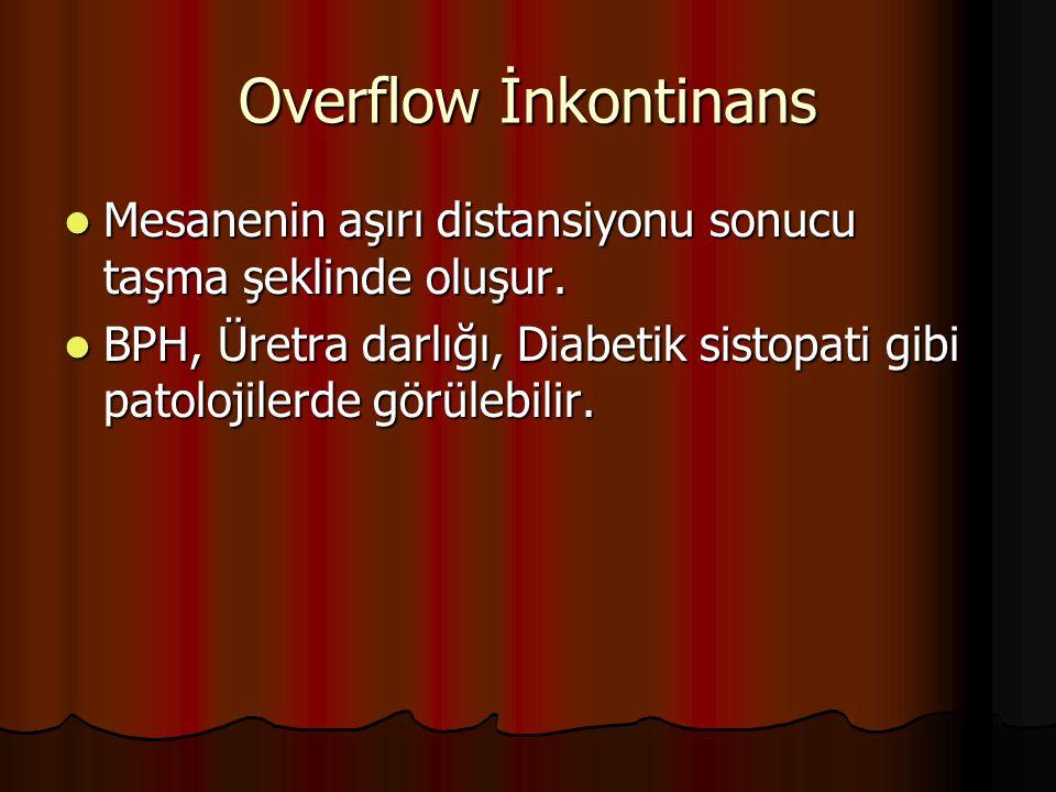 Overflow İnkontinans Mesanenin aşırı distansiyonu sonucu taşma şeklinde oluşur.