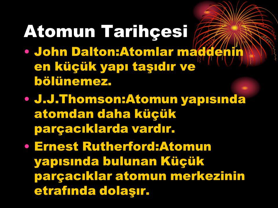 Atomun Tarihçesi John Dalton:Atomlar maddenin en küçük yapı taşıdır ve bölünemez.