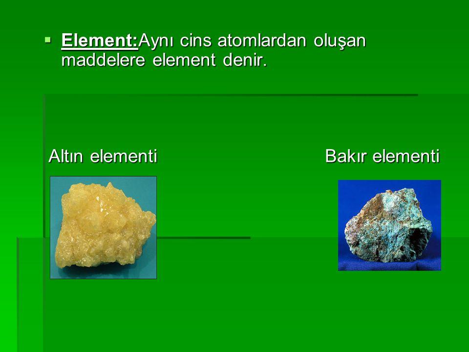 Element:Aynı cins atomlardan oluşan maddelere element denir.