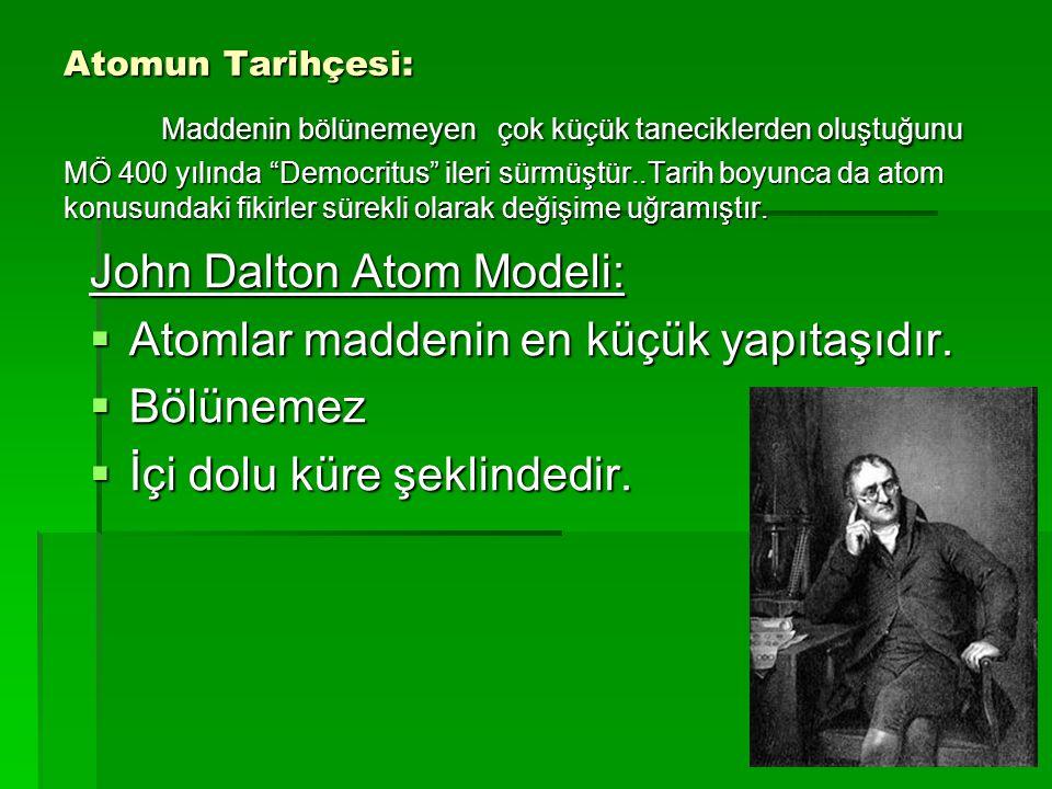 John Dalton Atom Modeli: Atomlar maddenin en küçük yapıtaşıdır.