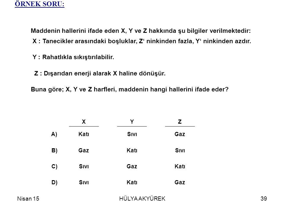 ÖRNEK SORU: Maddenin hallerini ifade eden X, Y ve Z hakkında şu bilgiler verilmektedir:
